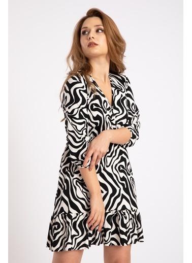Madame Sare  Kadın Zebra Desenli Kruvaze Kısa Elbise Siyah